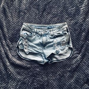 LF Carmar Side Zip Distressed Denim Shorts